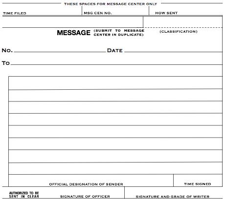 M-210 Message Form (reproduction)