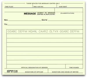 Cipher Message on M-210 Form