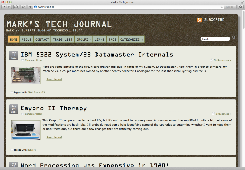 Screen grab of Mark's Tech Journal