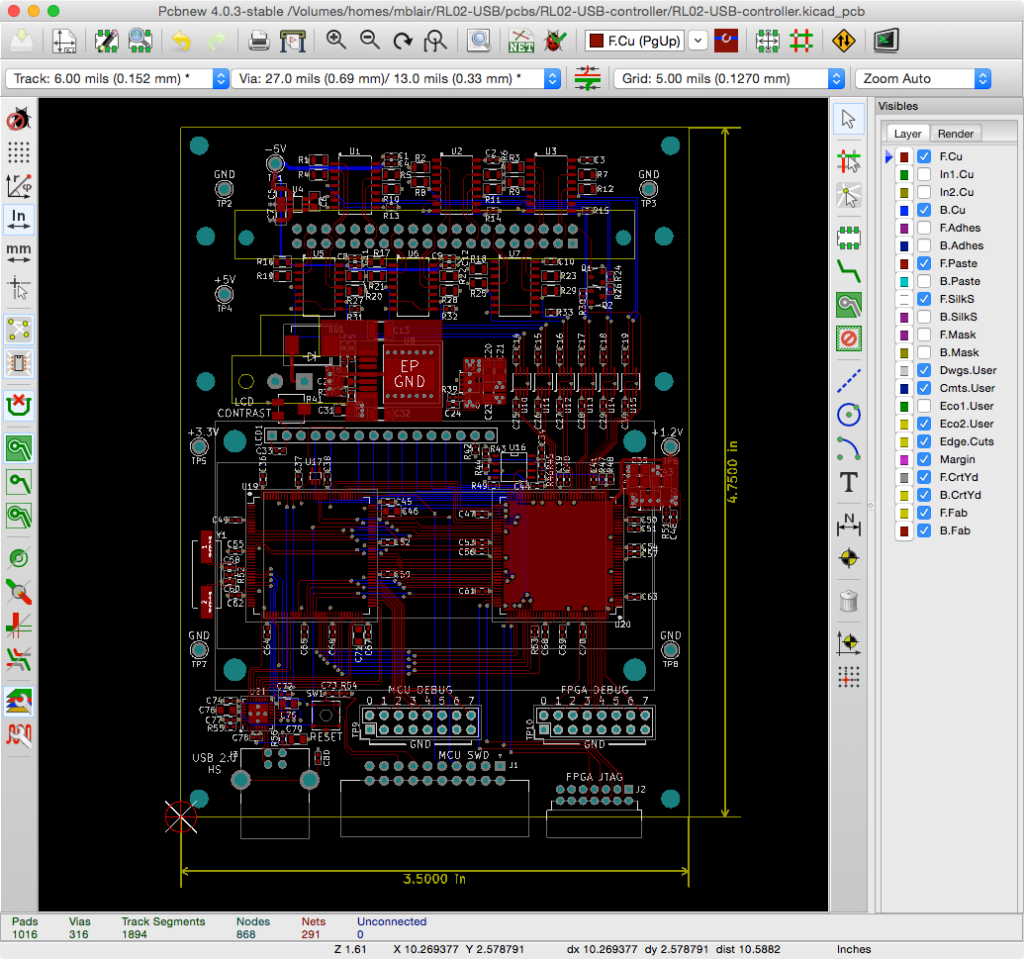 RL02-USB Routed PCB