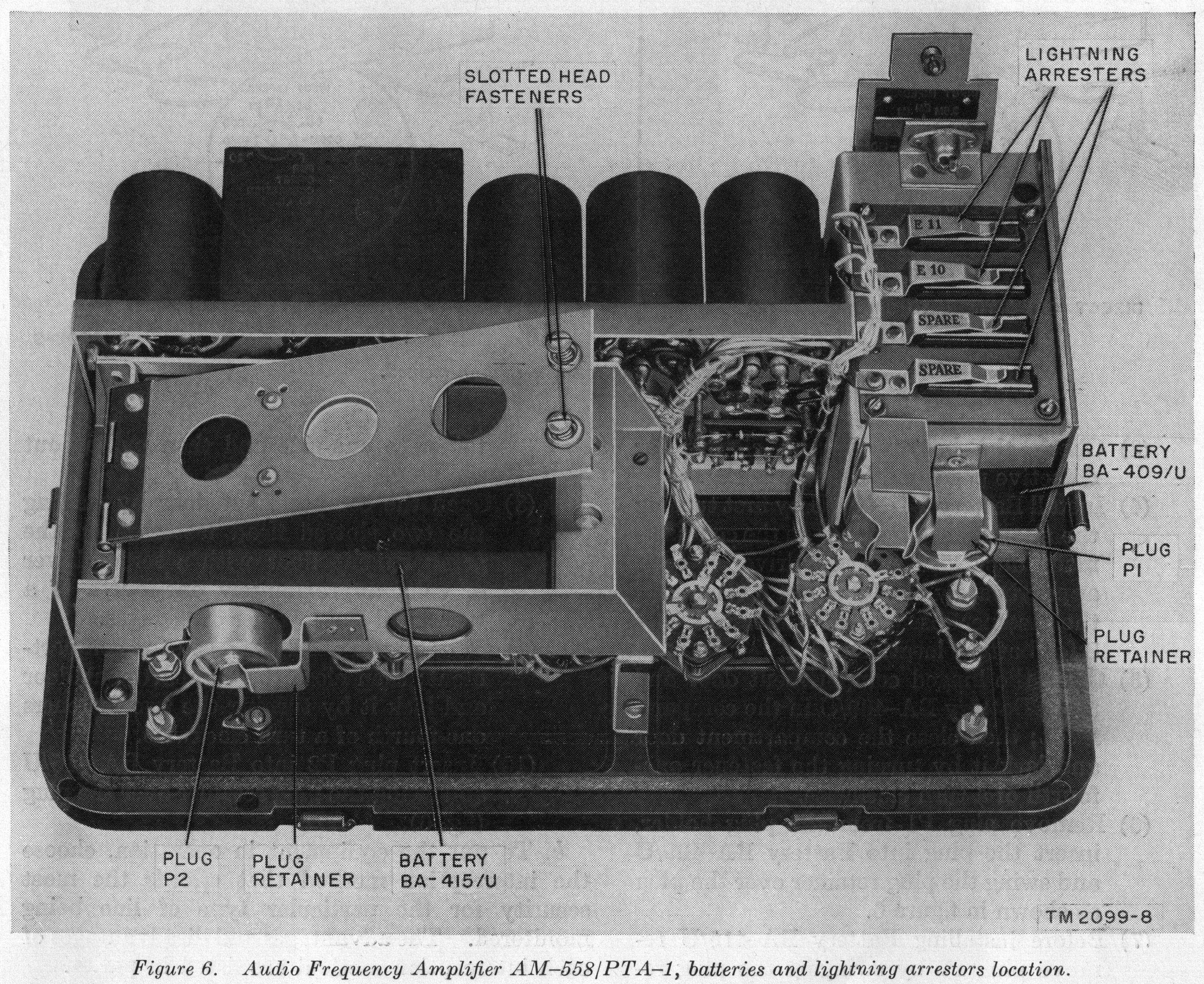 Audio Frequency Amplifier AM-558/PTA-1, batteries and lightning arrestors location.