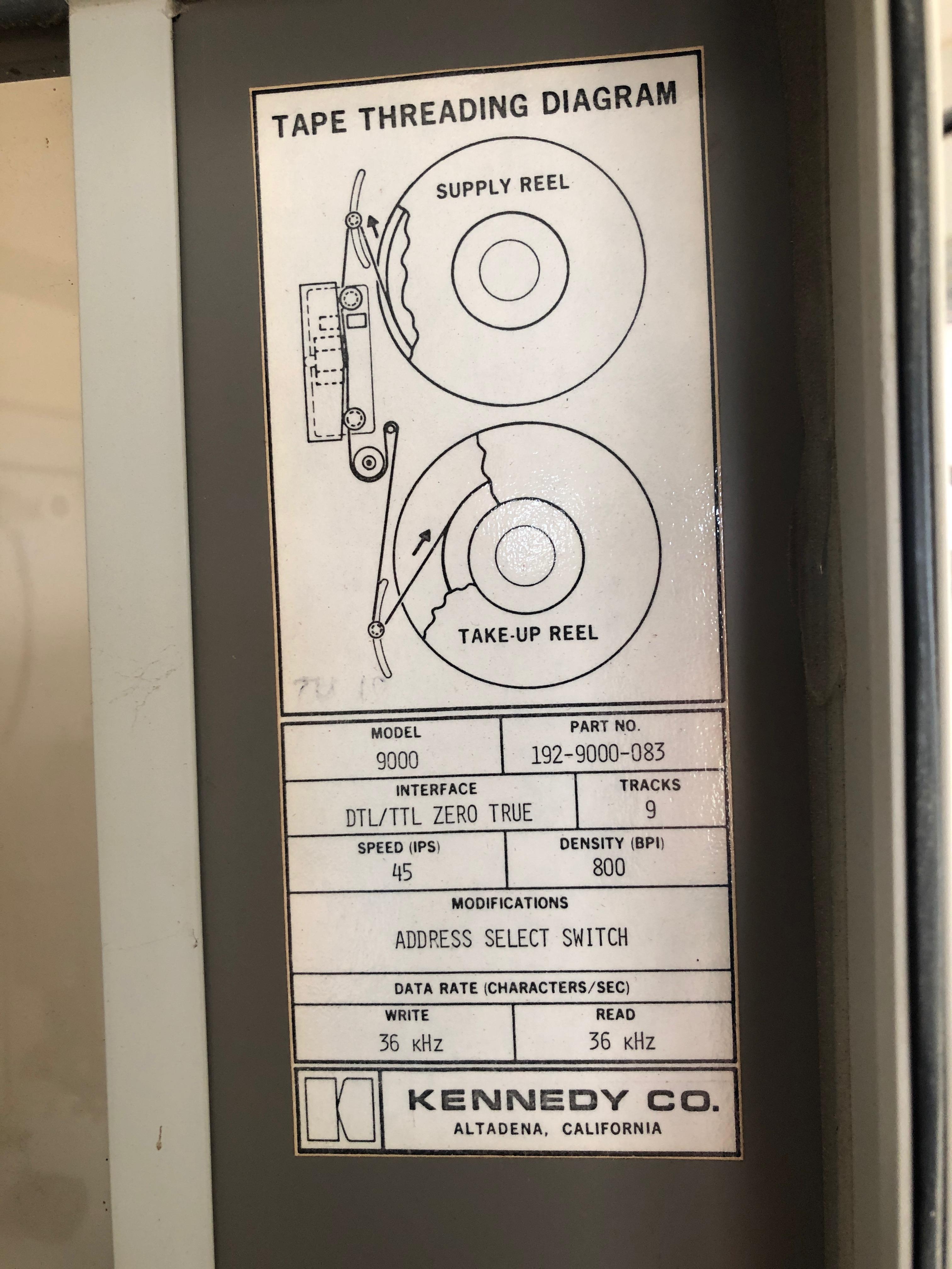 Tape Drive Dataplate