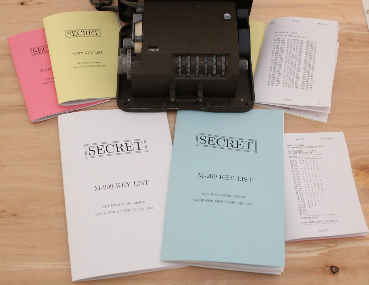 Small and Large Key List Booklets Arranged Around an M-209
