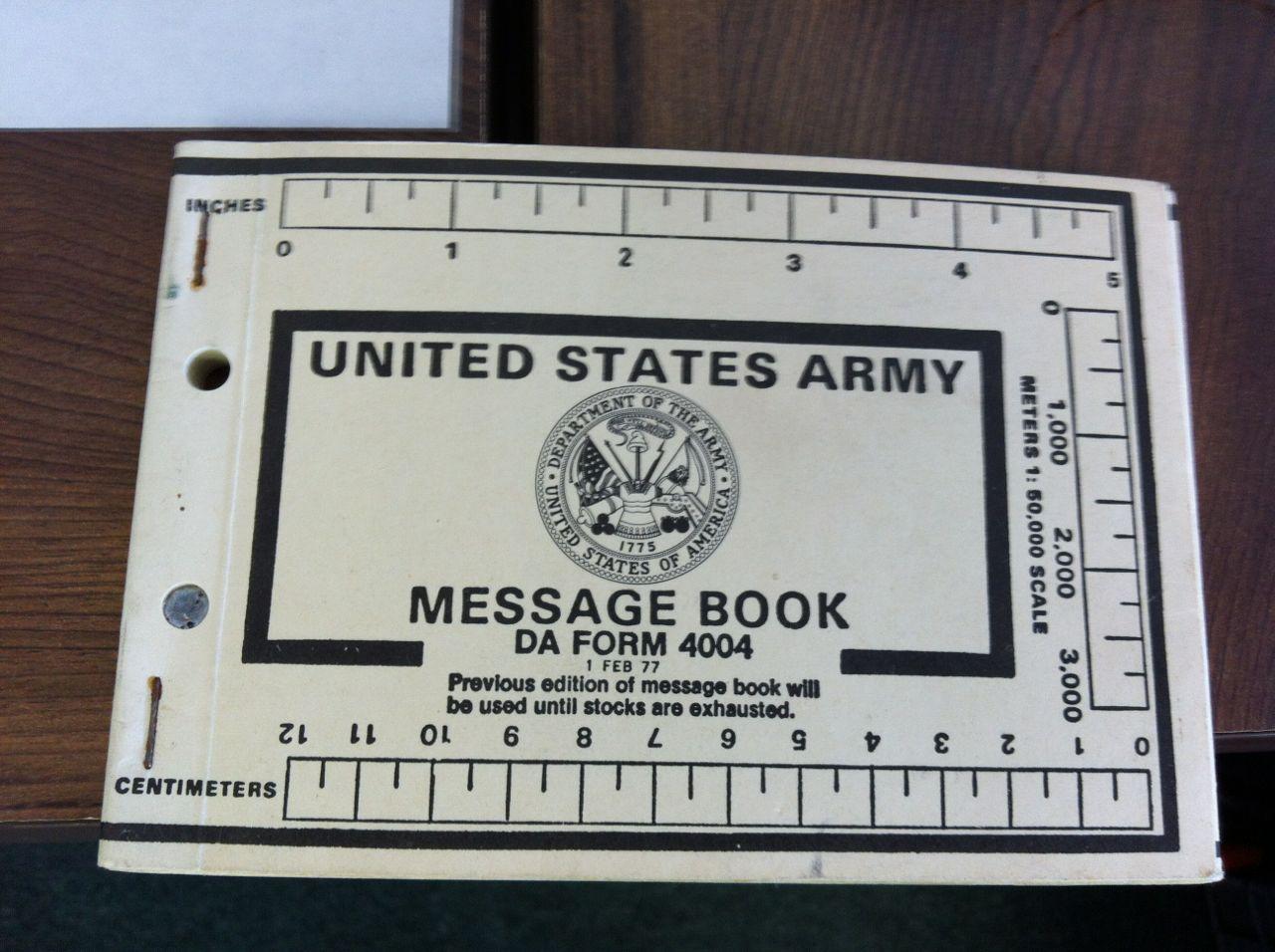 Army Message Book DA Form 4004
