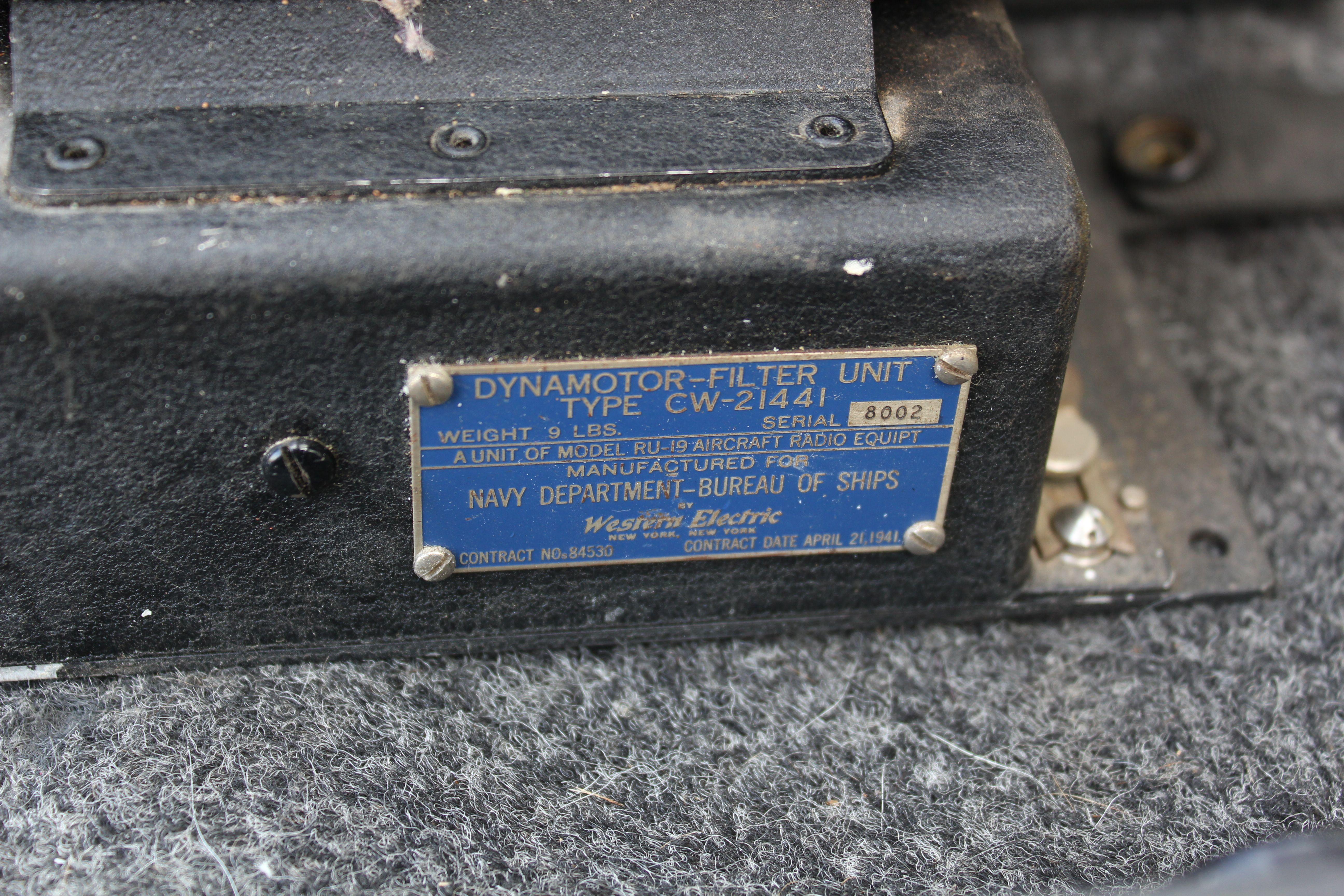 Dynamotor Base Dataplate