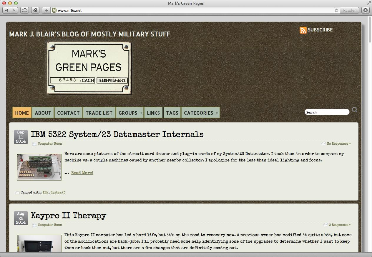 Screen grab of Mark's Tech Journal