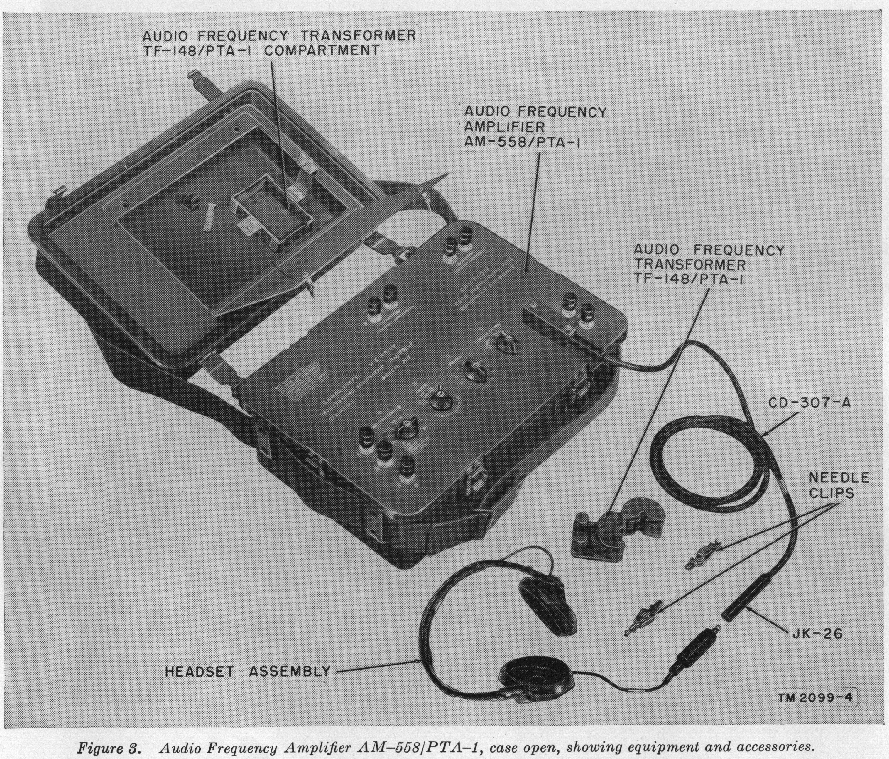 Audio Frequency Amplifier AM-558/PTA-1, case open, showing equipment and accessories.